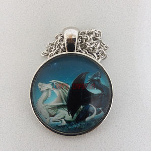 Twin Dragons Good&Evil Glass Cabochon Necklace